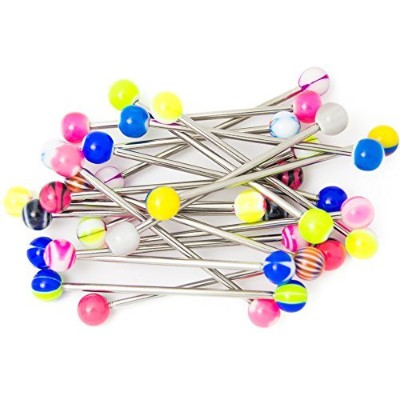 20 Industrial Piercing Barbells - No Duplicates - 14ga-1.5(38 mm) 316L Surgical Steel by BodyJewelry...