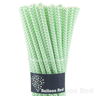 (50, Light Green Chevron) - Biodegradable Paper Drinking Straws (Premium Quality), Pack of 50,...