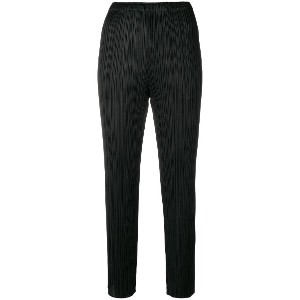 Pleats Please By Issey Miyake pleated cropped trousers - ブラック