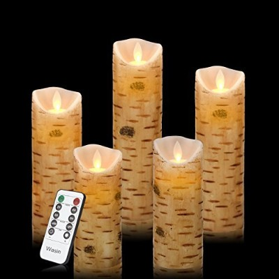 "Flameless Candles 4 "" 5 "" 6 "" 7 "" 8 "" Birch Bark効果Dripless RealワックスピラーLEDキャンドルwith 10-keyリモートコントロール..."