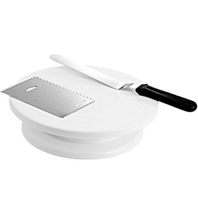 "(11"" WT) - 28cm Rotating Cake Turntable with 32cm Angled Icing Spatula and Icing Smoother,..."