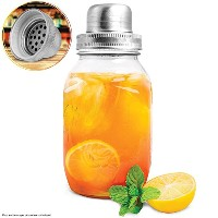 Refinery and Co。32-oz。ガラスMason Jar Shaker、作成Cocktails & Chilled Beverages Like a Pro、はステンレス鋼ストレーナ...