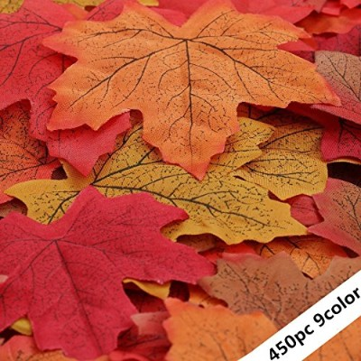 450pc Assorted 9カラーミックスFall Colored Artificial Maple leaves-dearhouse紅葉の秋、感謝祭、パーティー用品、ハロウィン、結婚式の装飾
