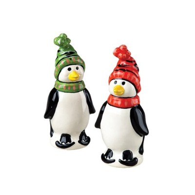 Pfaltzgraff Penguin Skate Sculpted Salt And Pepper Set