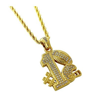 Iced Out # 1Football Teamペンダントネックレス24cmロープチェーン