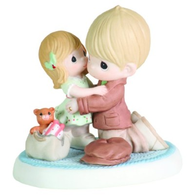 "Precious Moments Dad and daughter hugging Figurine ""私はホームforクリスマス」"