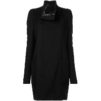 Rick Owens double breasted band collar coat - ブラック