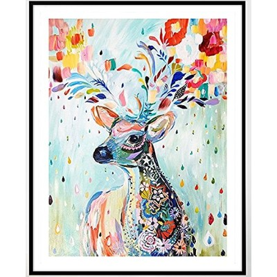 Colorful Deer counted cross stitch kits 14 ct,カラフルな鹿 、40 * 50cm 150x200point クロスステッチ
