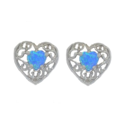 Simulated Blue Opal & Diamond LOVE Engraved Heart Stud Earrings .925 Sterling Silver Rhodium Finish