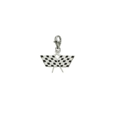 Racing Flag Charm with Lobster Claw Clasp、チャームブレスレットとネックレス用
