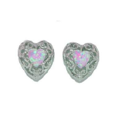 Simulated Pink Opal & Diamond LOVE Engraved Heart Stud Earrings .925 Sterling Silver Rhodium Finish