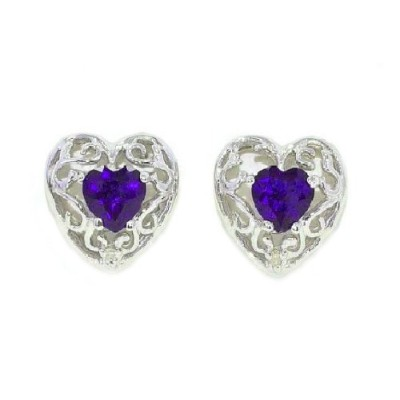 1 Ct Amethyst CZ & Diamond Heart LOVE Engraved Stud Earrings .925 Sterling Silver Rhodium Finish