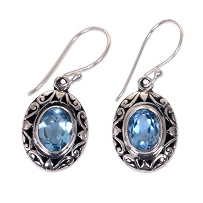 NOVICA Blue Topaz .925 Sterling Silver Dangle Earrings, Petite Perfection'