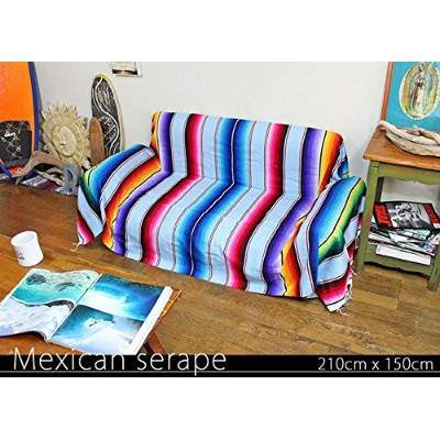 RUG&PIECE Mexican Serape made in mexcico ネイティブ メキシカン サラペ メキシコ製 210cm×150cm (rug-6193)