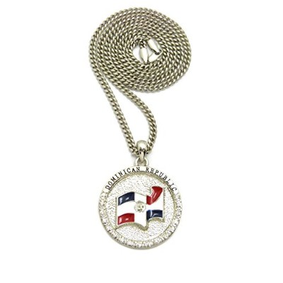 """Iced Out Dominican Republic Flagペンダント& 24""""チェーンチェーンネックレス–xsp558"""