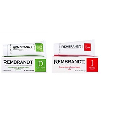 Rembrandt Deeply White + Peroxide Whitening Mint, 74g 2.6 ounces (1個) & Rembrandt Intense Stain...
