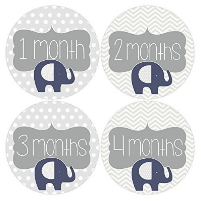 Gift Set of 12 Round Keepsake Photography Monthly Baby Stickers with Elephants in Navy Blue MOSB111...