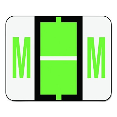 Smead BCCR Bar-Style Color-Coded Alphabetic Label, M, Label Roll, Light Green, 500 labels per Roll,...