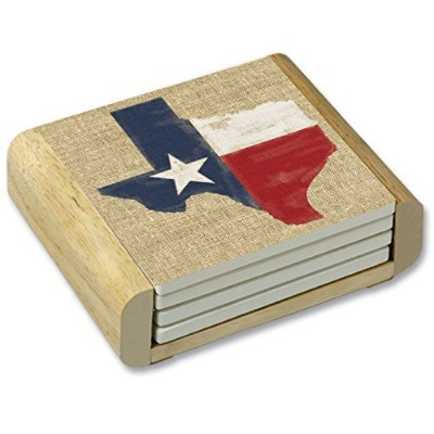 CounterArt Texas on Burlap Absorbent Coasters in Wooden Holder, Set of 4