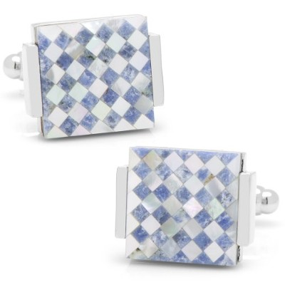 Ox and Bull Trading Coフローティング母のパールCheckered Cufflinks