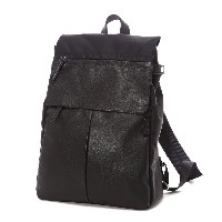 イザック Y'SACCS Nylon×Cow leather combi series Rucksack(BLACK) レディース