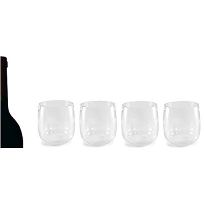 Maison Plusのセット4クリアアクリルタンブラー–粉砕Glassware, 10oz–Great for Wine and Spirits inホームバー