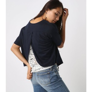 【SALE 55%OFF】【AZUL BY MOUSSY】バックレース切替半袖プルオーバー NVY