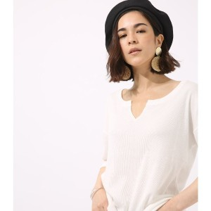 【SALE 48%OFF】【AZUL BY MOUSSY】キーネックルーズ五分袖TEE O/WHT
