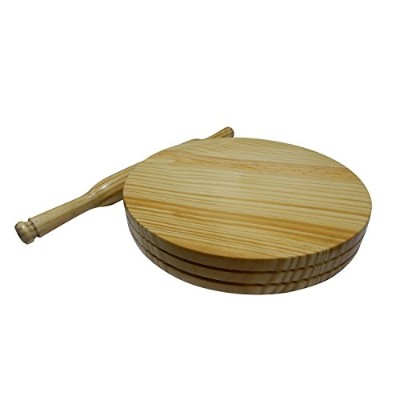 WOODEN CHAKLA, CHAPATI (ROTI) MAKER SMALL, CIRCULAR BOARD (CHAKLA), WITH ROLLING PIN (BELAN) 23cm