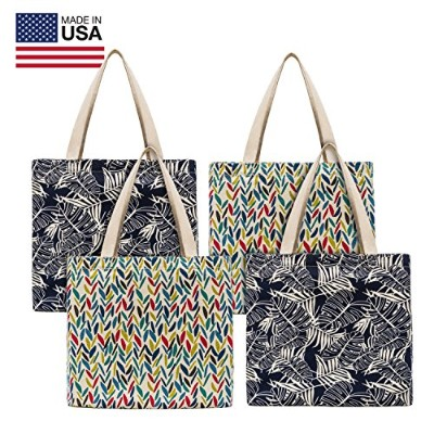Planet Eキャンバス4パック再利用可能なショッピングバッグ/ Totes Made in USA