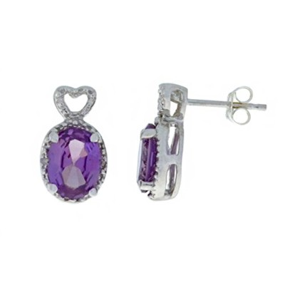 3 Ct Created Alexandrite & Diamond Oval Heart Stud Earrings .925 Sterling Silver Rhodium Finish