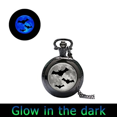 glowlala ® GlowingハロウィンWatchネックレスグローin theダークGlassTile Watchネックレス月時計ジュエリーハロウィン腕時計ジュエリーBat腕時計ジュエリーHol...