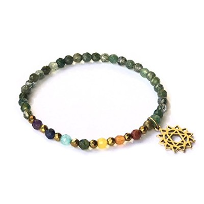 Heart Chakra Bracelet , Moss Agate and Chakra宝石withチャーム