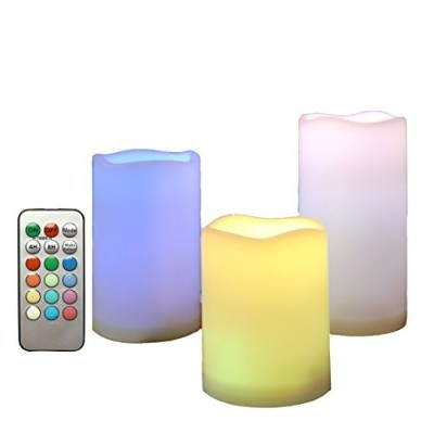 Candle Choice Weatherproof Flameless Candle withリモートマルチ色が変化するキャンドルタイマー 3 PACK