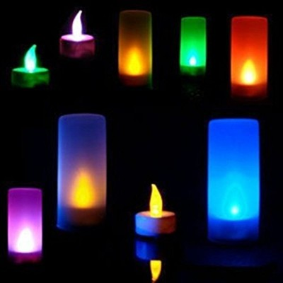 Flameless Blow Out LED Tea Light Candle with Frostedホルダー、マルチカラーElectric Battery PoweredマジックTealightキ...