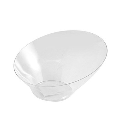 (LARGE, CLEAR) - Party Bargains Hard Plastic Angled Large Serving Bowls, Colour: Clear, Value Pack...