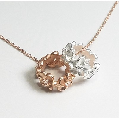PikiPea (ピキペア) ネックレス Necklace ハワイアン ジュエリー プルメリア リング ネックレス シルバー 925 PINK GOLD & SILVER