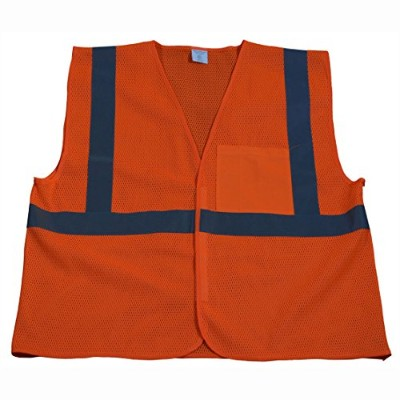 Petra Roc OVM2-EC-L-XL Safety Vest Economy Line Ansi Class Ii Orange Mesh44; Large & Extra Large