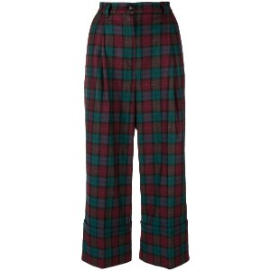 I'M Isola Marras plaid cropped trousers - レッド