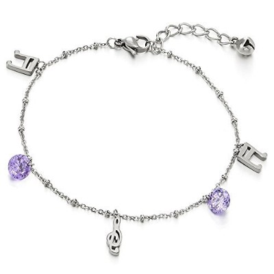 Stainless Steel Anklet Bracelet with Purple Cubic Zirconia and Music Note