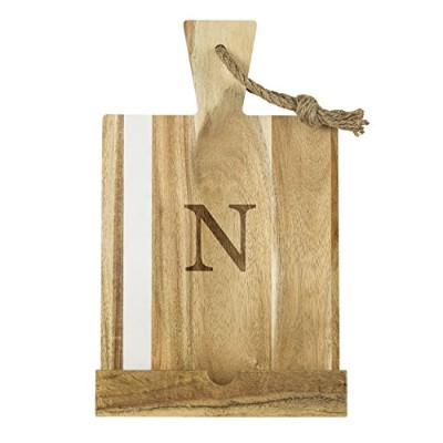 (Letter - N, Brown) - Cathy's Concepts 4183-N Personalised Marble and Acacia Tablet Recipe Stand,...