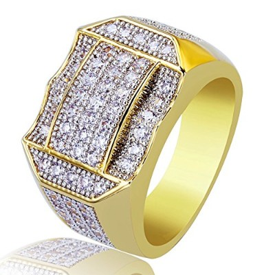 JINAO ジンアウ 新品 メンズ 14K ゴールドメッキ ダイアモンド付き クラスター ブリンク 幾何 リング Men 14K Gold Plated Cluster Iced Out...