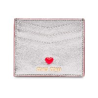 Miu Miu love logo Madras card holder - メタリック
