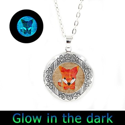 glowlala ® Glowing Foxロケットペンダント、グローin theダーク、かわいいフォックスGlowingロケットネックレス、フォックスGlowingロケットジュエリー