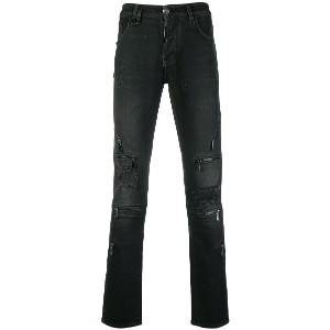 Philipp Plein zip detailed skinny jeans - ブラック