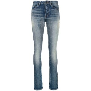 Saint Laurent stonewashed high rise skinny jeans - ブルー