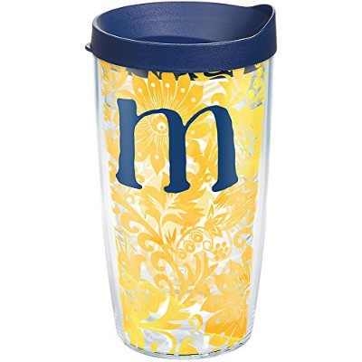 Tervis 1267572initial-m Bloomingタンブラーwithラップと海軍蓋16オンス、クリア