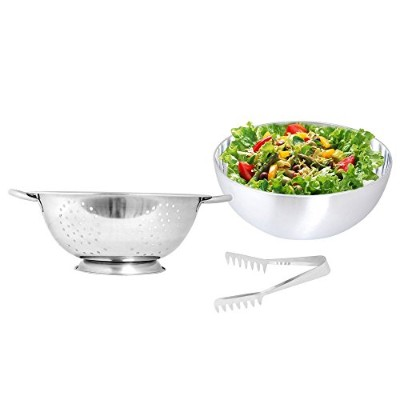 """Kosma Set of 2 Pc Stainless Steel Salad Bowl & Deep Colander 28 cm with"""":FREE"""" Serving Tong"""