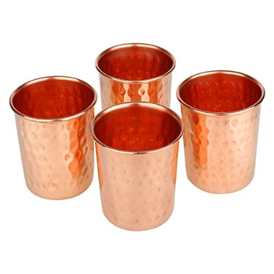 Zap Impex Drinking Vessels Hammered銅ガラス100 % Pure銅タンブラーMoscow Muleタンブラーのセット4