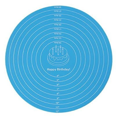 (Blue) - wellhouse 30cm Silicone Round Pastry Mat With Measurements Baking Mat Counter Mat Dough...